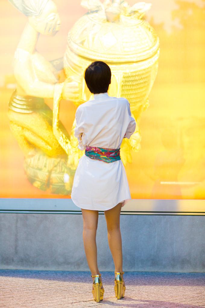 Nini S Tips Shirt Dress With Hermes Scarf As Belt Nini 39 S Style