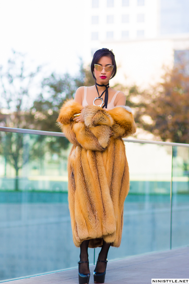 Nini Nguyen red fox fur coat2