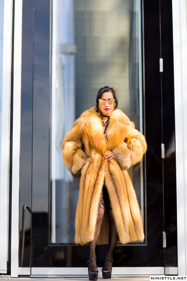 Nini Nguyen red fox fur coat