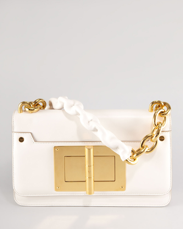 Tom Ford white bag with gold lock