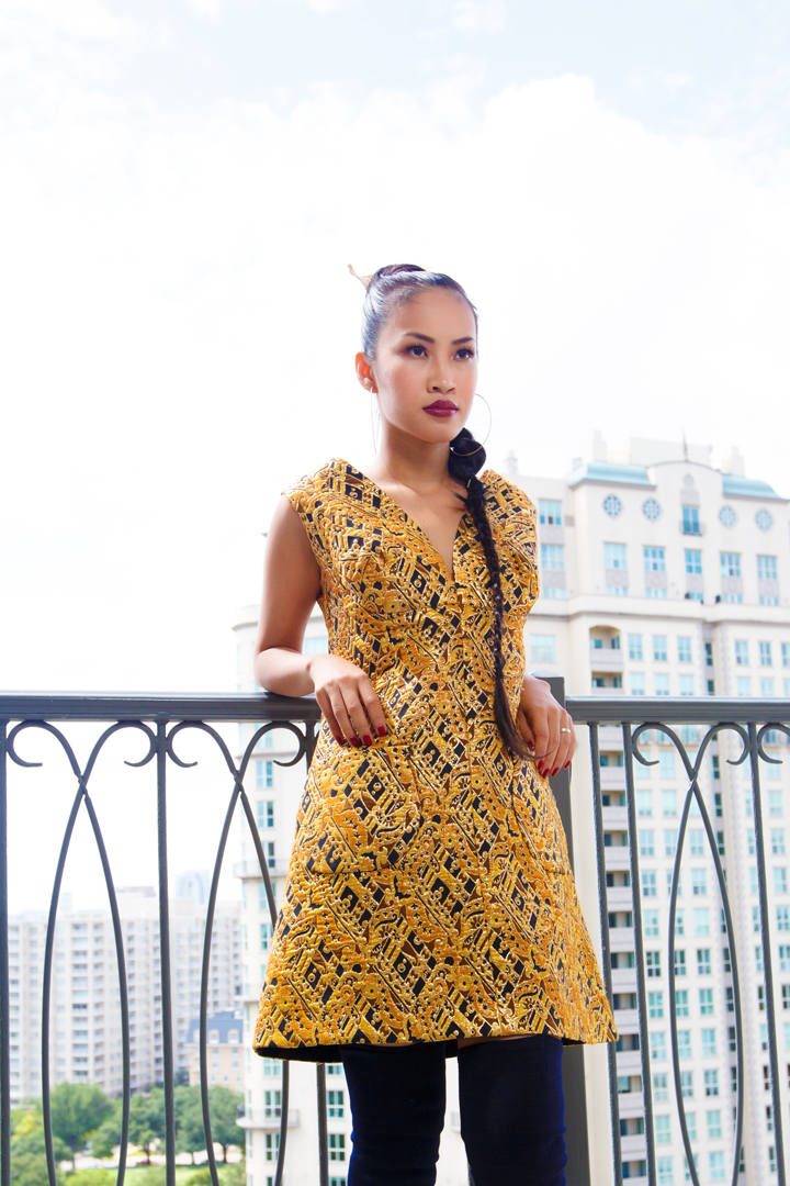Nini Nguyen vintage gold dress3