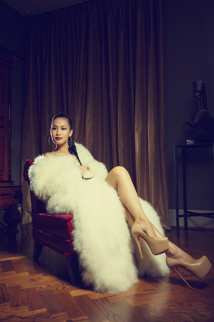 Nini Nguyen white ostrich fur